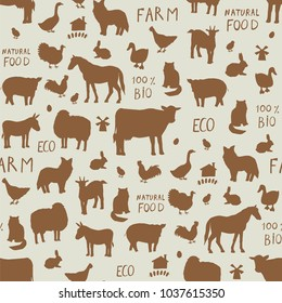 Farm animals seamless vector silhouette pattern