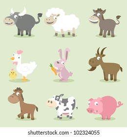 Farm animals series, buffalo, sheep, donkey, chicken, rabbit, goat, horse, cow, pig