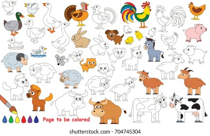 Farm Animals Set to be colored, the coloring for preschool kids with easy educational gaming level.