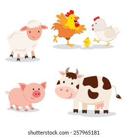 Farm animals. Set of cartoon farm animals isolated on white background.