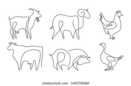 Farm animals set. Cow, ram, goat, pig, chicken, goose. Drawings in one line.