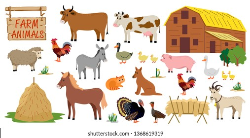 Farm animals set in flat style isolated on white background. Vector illustration. Cute cartoon animals collection: sheep, goat, cow, donkey, horse, pig, cat, dog, duck, goose,  rooster, turkey.