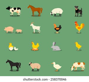 Farm animals set in flat vector style with a chicken hen cock pig sheep beef dairy cow horse.