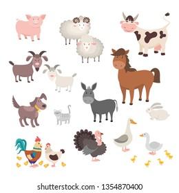 Farm Animals set. Isolated homes animal pig chicken horse dog turkey rabbit cat. Flat cute silhouette animal barnyard. Vector illustration