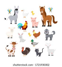 Farm animals set isolated on white background. Cute cartoon character - turkey, sheep, goat, cow, donkey, horse, pig, cat, dog, duck, goose, hen, chicken, rooster, bee. Vector flat design illustration