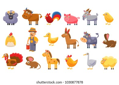 Farm animals set, male farmer, livestock and pets cartoon vector Illustrations on a white background
