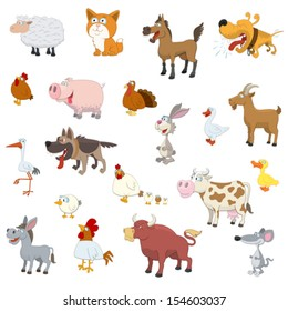 Farm animals set on white background