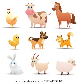 Farm animals set on a white background. Series of different farm animals by color: rooster, chicken, cow, horse, pig, chicken, dog, cat, goose, rabbit, goat, sheep. Vector illustration
