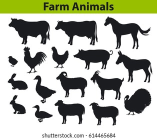 Farm animals silhouettes collection with cow, bull, horse, hen, chicken, rooster, pig, goat, sheep, ducks, turkey, rabbits, donkey and goose
