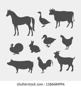 Farm animals silhouettes. Horse, cow, pig, goat, rabbit, goose, chicken, duck, rooster, turkey vector silhouettes