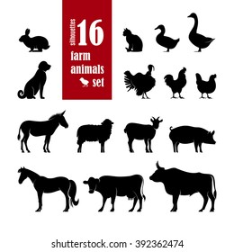Farm Animals Silhouettes set for domestic fauna design: ?ow, horse, cat, sheep, chicken, duck, turkey, goat, rabbit, dog, donkey, pig, beef, goose isolated on white background. Vector illustration.