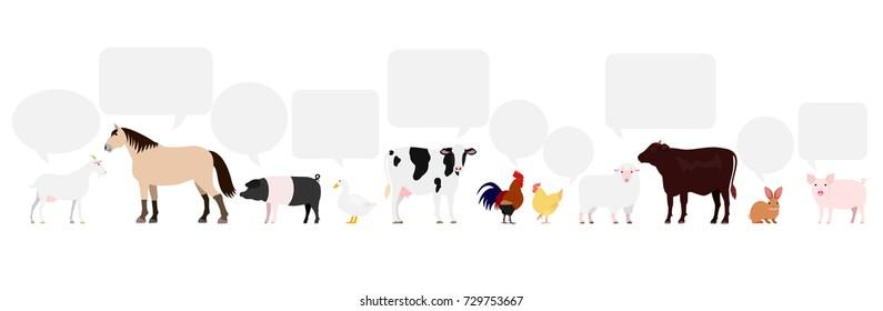 Farm animals with speech bubbles