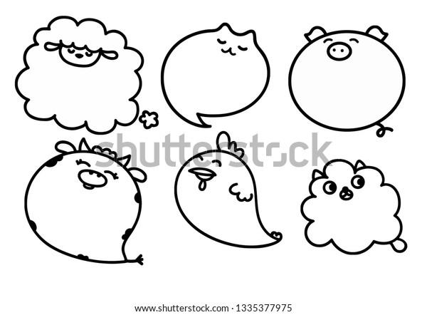 Farm Animals Speech Bubbles Stock Vector (Royalty Free