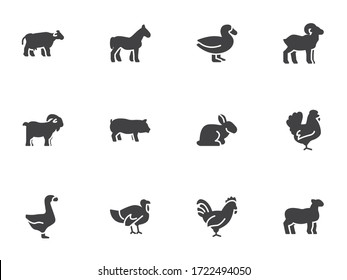Farm animals vector icons set, modern solid symbol collection, filled style pictogram pack. Signs, logo illustration. Set includes icons as cow, pig, sheep, goat, rooster, chicken, turkey, rabbit, hen