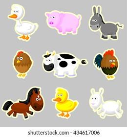 Farm animals - vector illustration