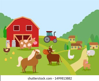 Farm animals vector illustration. Domestic animals cow, bull and calf, sheep, horse. Poultry chicken with chicks and duck. Barn, cans, houses, tractor. Farmer house and his animals.
