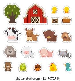 Animales de granja Ilustración vectorial, pegatinas con animales domésticos, Colorido conjunto de lindos animales de granja
