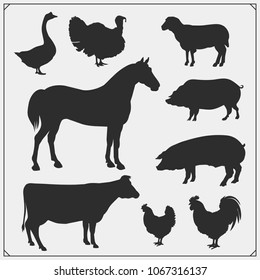Farm animals vector silhouette set. Vector monochrome illustration.