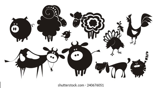 Farm animals. Vector silhouettes.