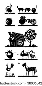 Farm animals. Vector silhouettes.