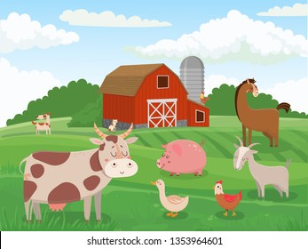 Farm animals. Village animal farms, cows red barn and cattle field landscape. Breed got, cow and horse or domestic chicken. Livestock character cartoon vector illustration