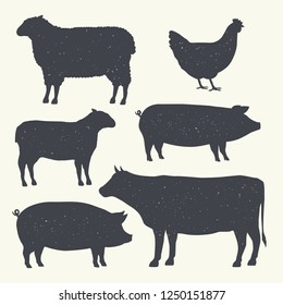 Farm Animals Vintage Set. Silhouettes of Cow, Pig, Sheep, Lamb, Hen. Farm Animals icons isolated on white background. Vector. Design elements for emblem, poster, label. Grunge texture.