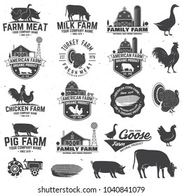 Farm Badge or Label. Vector illustration. Vintage typography design with chicken, pig, turkey, cow and farm house silhouette. Elements on the theme of the milk, pork and chicken farm business