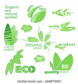 Farm badge set of Fresh Organic elements. Labels for natural food and drink, products, biodynamic agriculture. Collection 100% bio, eco, healthy stickers. Vector.