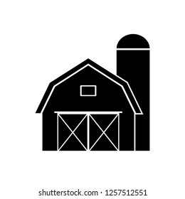 Farm barn black filled solid icon, logo on a white background