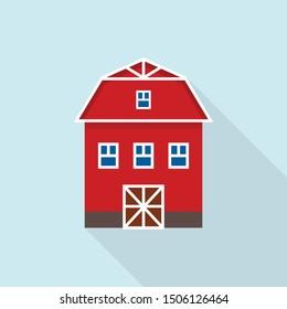 Farm barn icon. Flat illustration of farm barn vector icon for web design