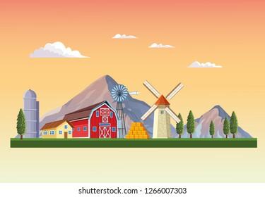 Farm with barn scenery