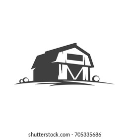 Farm barn silhouette isolated on white background vector object in retro style. Can be used for logo or badge.
