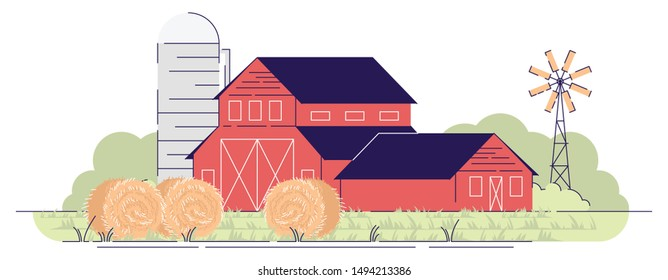 Farm barns with hay bales flat vector illustration. Village farmland, red rural ranch and backyard windmill. Country farmhouse. Countryside wooden buildings isolated cartoon concept with outline