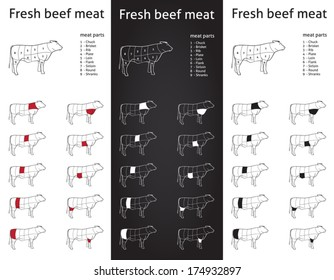 Farm Beef meat parts Icons for packaging and info-graphic 1