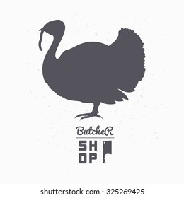 Farm bird silhouette. Turkey meat. Butcher shop logo template for craft food packaging or restaurant design. Vector illustration