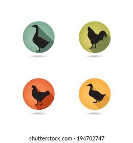 Farm birds silhouette. Animals vector set. Livestock icons.