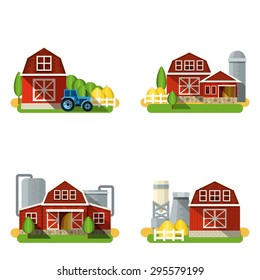 Farm buildings and country houses flat icons set isolated vector illustration