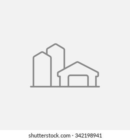 Farm buildings line icon for web, mobile and infographics. Vector dark grey icon isolated on light grey background.