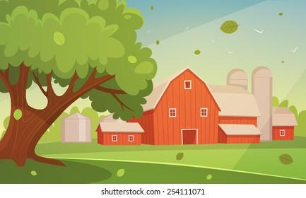 Farm Cartoon Landscape