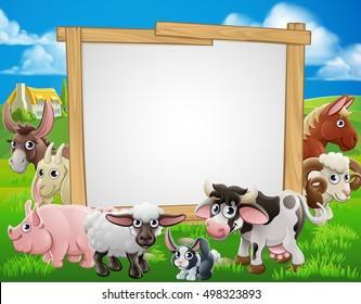 Farm cartoon sign with cute animals around a signboard
