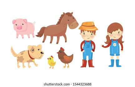 Farm Characters With Their Animals Vector Illustrations Set