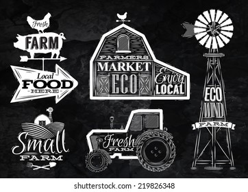 Farm characters in vintage style lettering in tractor barn, mill, sign field stylized drawing with chalk on chalkboard background.