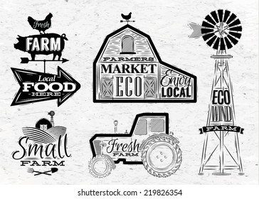 Farm characters in vintage style lettering in tractor barn, mill, sign field stylized drawing with coal on dirty paper background.