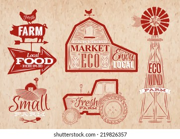 Farm characters in vintage style lettering in tractor barn, mill, sign field stylized drawing in red color on kraft