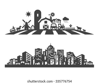 farm and city vector logo design template. gardening, horticulture or estate, construction, building icons