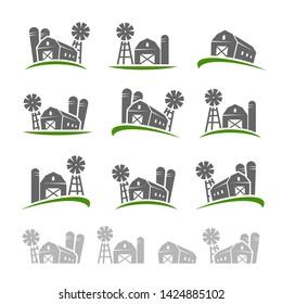 Farm collection icon set. Vector