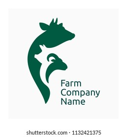 Farm company logo, icon agricultural animals. Farm animals symbol with cow, pig and goat.