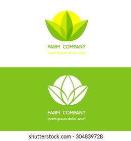 Farm company modern green yellow logo design leaf