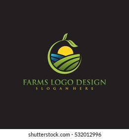 Farm concept logo template. Label for natural farm products. color logotype isolated on black background. Vector illustration.