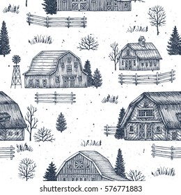 Farm country seamless pattern. Cute houses background. Engraved style illustration. Vector illustration